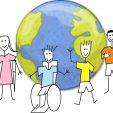 Descrição de Imagem: Imagem de divulgação do Centro Profissionalizante Rio Branco. A imagem traz o desenho do planeta Terra de fundo e na frente o desenho de quatro pessoas: uma mulher com muletas, um homem cadeirante, um homem com o braço esquerdo amputado e um homem surdo fazendo sinais de LIBRAS com as mãos. Todos estão sorrindo.
