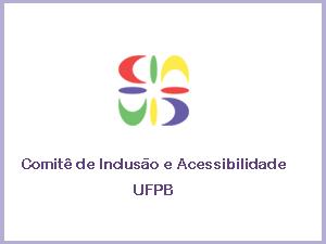 imagem colorida sobre fundo branco, com o logo do Comitê de Inclusão e Acessibilidade da UFPB. O logo tem a forma de uma estrela com 4 traços retos e 4 curvos, nas cores vermelho, verde, amarelo e roxo.