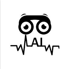 imagem com o logo do aplicativo Eyefy, que traz um grafismo em preto sobre fundo branco, com as letras AL e dois olhos atrás de um óculos de aros grossos.