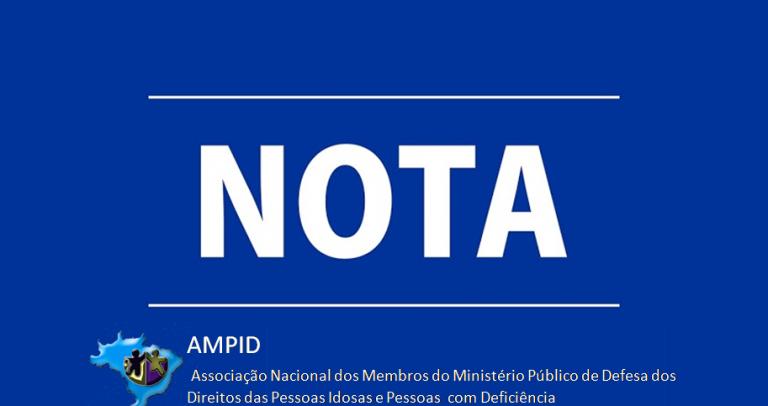 em funto azul escuro, a palavra NOTA, com o logo da AMPID abaixo.