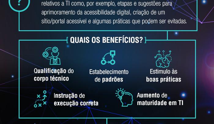 #pracegover #paratodosveres: em fundo preto, esquema resume a Orientação Técnica a partir dos quadros O que São e Quais os Benefícios. Na parte inferior, as logomarcas da CGTIC e da Prefeitura de São Paulo. Fim da descrição.