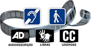 arte contendo um rolo de filme e símbolos de acessibilidade para audiodescrição, Libras e legendas.