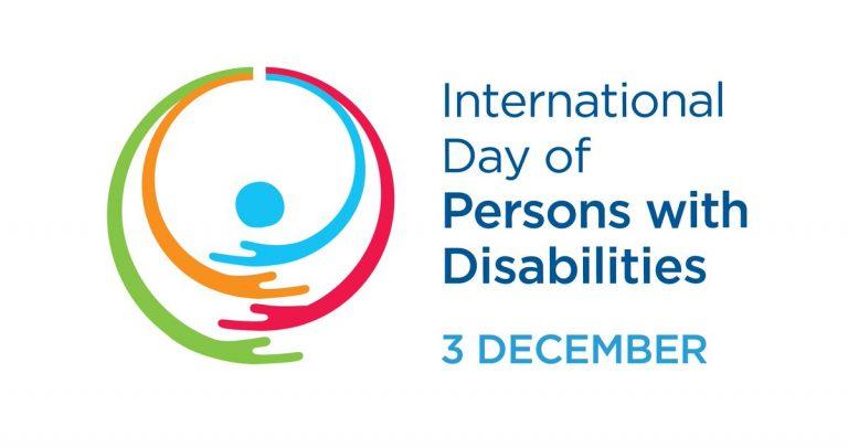 """arte da ONU, com texto em inglês """"dia Internacional das Pessoas com Deficiência, 3 de dezembro""""."""