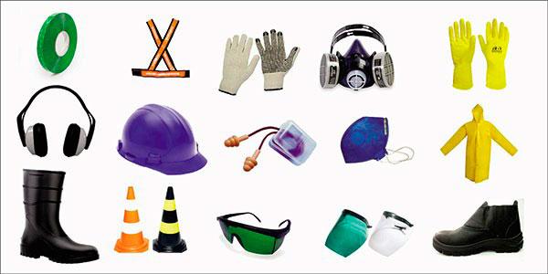 foto de vários equipamentos coloridos de proteção individual