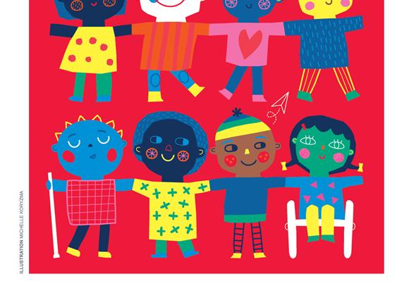em fundo rosa, oito desenhos coloridos representando jovens com uma ou mais deficiências de mãos dados
