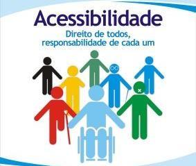 em fundo branco com detalhes nas laterais em azul, imagem mostra representações coloridas da diversidade de Pessoas com Deficiência. NO alto, lê se: Acessibilidade – Direito de todos, responsabilidade de cada um