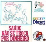 em fundo branco, arte mostra charge cartaz e logomarcas das entidades que promovem o evento. Em destaque, na cor rosa, a frase: Saúde Não se Troca Por Dinheiro