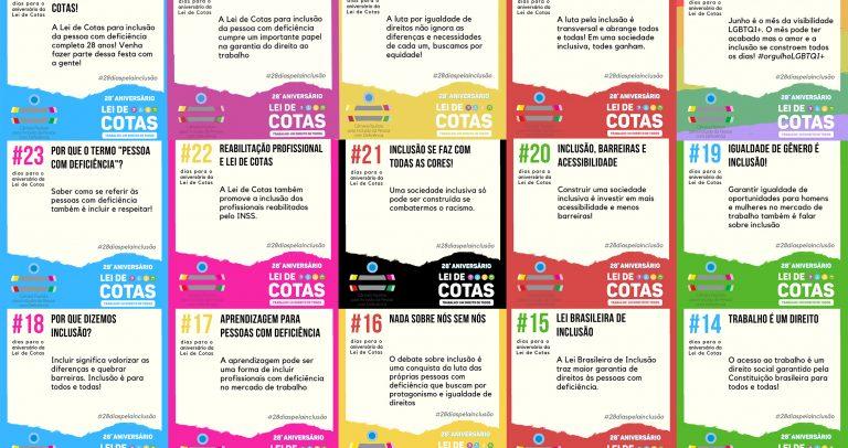 mosaico mostra sequencia de nove artes da campanha #28diasparaoaniversariodeaLeideCotas