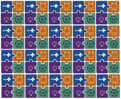 mosaico de peças simulando quebra-cabeças nas cores roxa, ocre, azul marinho e verde, delimitados na cor branca, mostram a logomarca da Fiocruz, o símbolo da acessibilidade e uma lâmpada