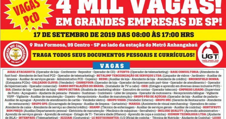 cartaz em fundo branco com detalhes nas cores vermelha e amarelo tem em seu texto destacado Mutirão de Emprego, vagas para PcD