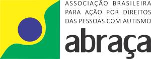 logotipo da Abraça é nas cores verde e amarela, com um círculo azul escuro ao centro. Lembra ao mesmo tempo a Bandeira do Brasil e uma figura humana.
