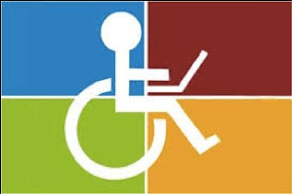 ilustração mostra silhueta de uma pessoa em cadeira de rodas com um notebook no colo.