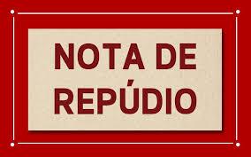 """sobre fundo vermelho e bege, texto em cor vermelha: """"Nota de Repúdio"""""""