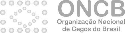 Logo da ONCB. À esquerda das letras ONCB, há o desenho da bandeira do Brasil composta de pontos que remetem ao sistema Braille.