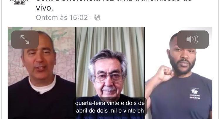 Print de Live da SMPED, no Facebook. À esquerda, está o secretário Cid Torquato; ao centro, o Dr. José Carlos do Carmo e, à direita, o intérprete de Libras.