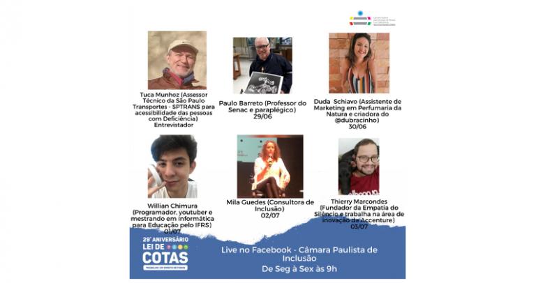 A imagem contém um fundo branco com 6 fotos dos participantes das lives, com nome e cargo e a data que cada um vai participar das lives.