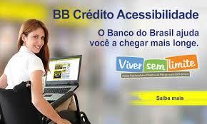 imagem da campanha do BB Credito Acessibilidade, onde aparece a foto de uma mulher sentada em uma cadeira de rodas, com um notebook no colo, e informações sobre o crédito.