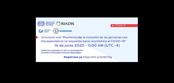 arte com o texto descrito na notícia, e logos da OIT, RIADIS, Consorven e International Disability Alliance.
