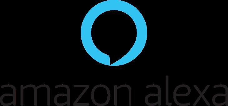 #descriçãodaimagem: imagem mostra o logo da Amazon Alexa. Na parte superior, é um balão com contorno azul e fundo branco. Embaixo dele, está escrito Amazon Alexa.
