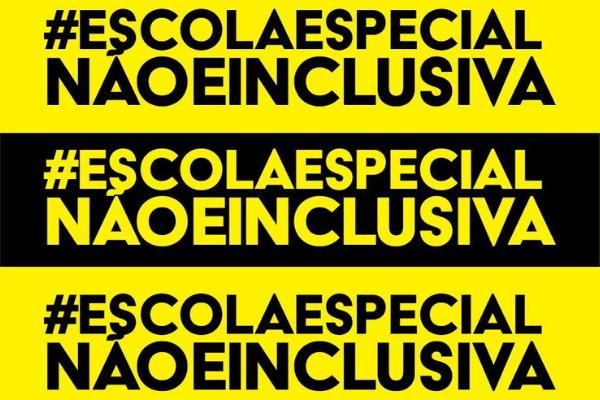 card com fundo em listras pretas e amarelas, escrito em caixa alta a frase: # escola especial não é inclusiva, repetida três vezes.