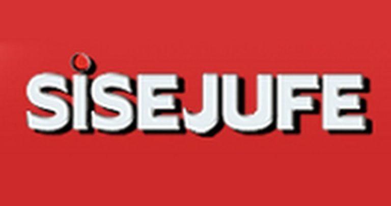 Imagem com fundo vermelho onde está escrito SISEJUFE, em branco e caixa alta