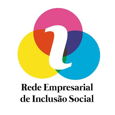 """imagem mostra o logo da REIS, que é composto por três círculos entrelaçados, nas cores rosa, amarelo e azul, e no centro há a letra """"I em branco"""". abaixo está escrito em preto: Rede Empresarial de Inclusão Social."""